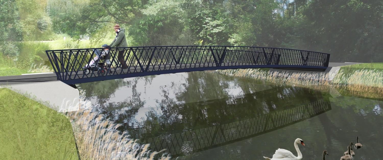 brugontwerp bruggen bruggenpark Randenbroek Amersfoort, stalen brug met dragend hekwerk, antraciet, ontwerp door ipv Delft