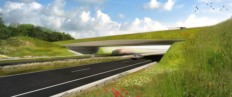 viaduct met begroeide brugranden, natuurlijke doorloop begroeiing, modern ontwerp, design door ipv Delft