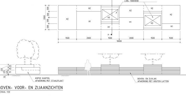 bouwtekening boombakken, openbare inrichting, banken op straat, ontwerp door ipv Delft