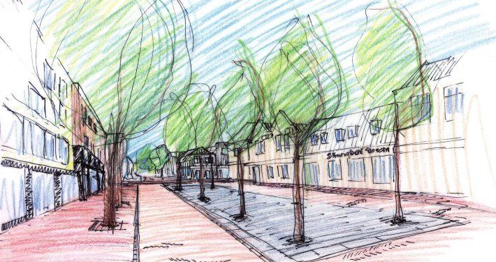 kleurschets van winkelstraat met bomen in het midden, ontwerp door ipv Delft