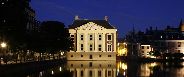lichtplan-Verlichting Mauritshuis Den Haag, 's avonds verlicht, lichtontwerp door ipv Delft