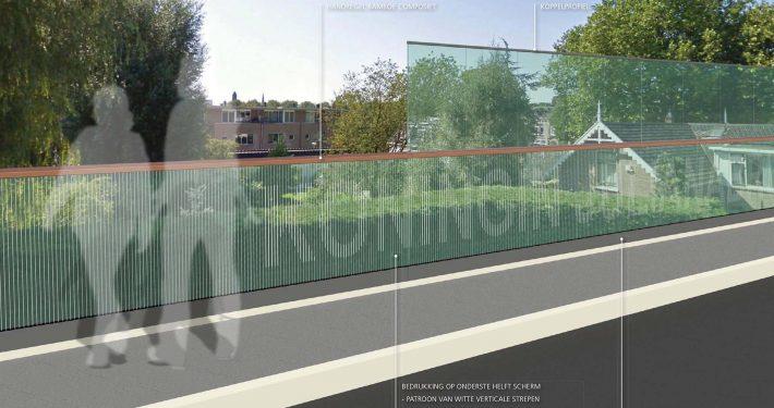 beelddocument Julianabrug, moderne brug met bedrukking van brugnaam, ontwerp door ipv Delft
