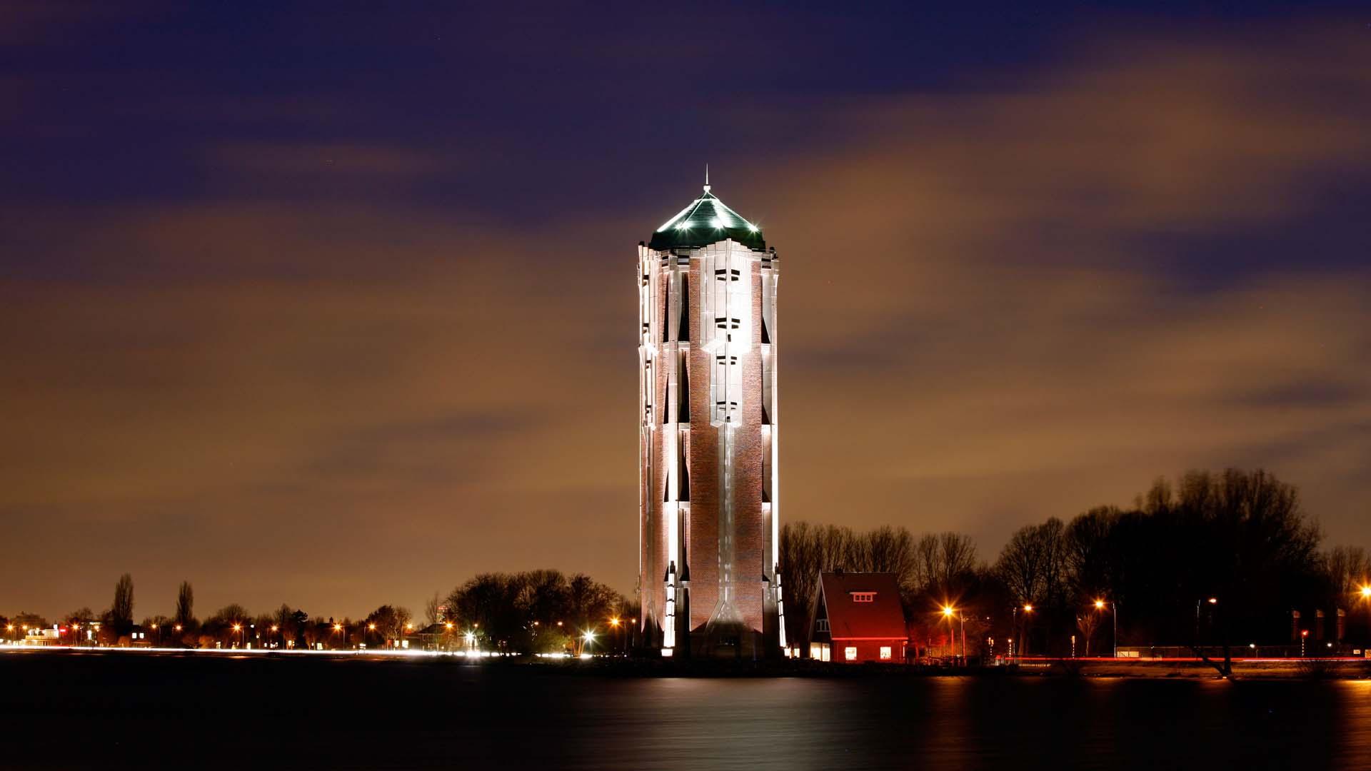Verlichting watertoren aalsmeer ipv delft creatieve ingenieurs