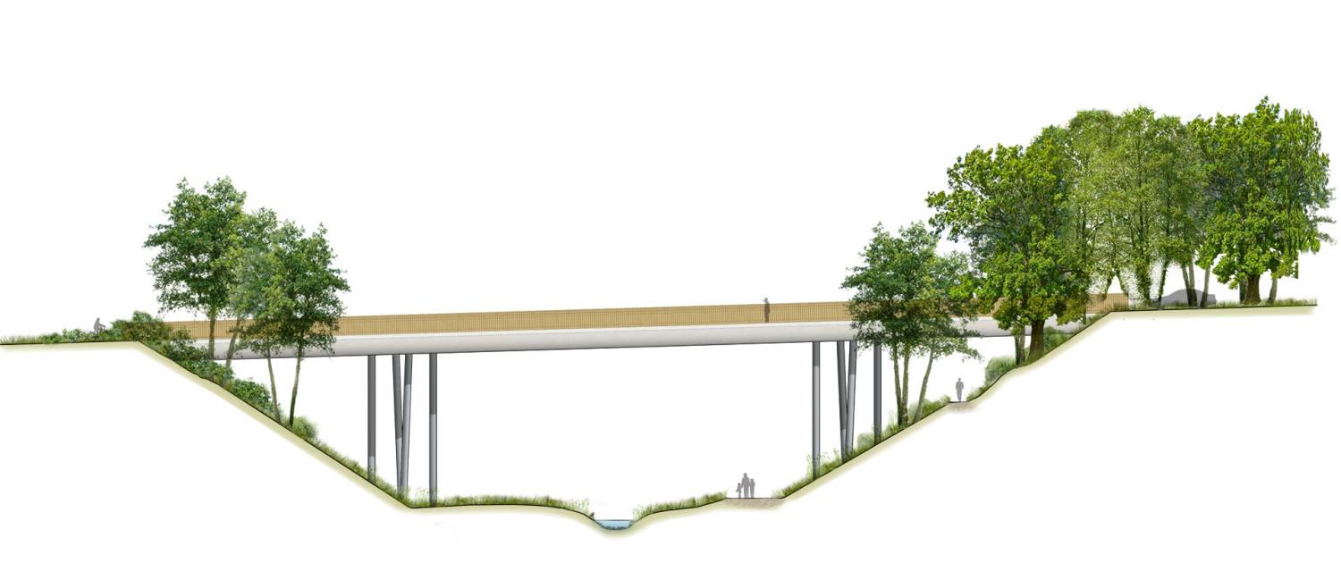 A3 tweedimensionaal 2D zijaanzicht brug, brugontwerp, strakke, simpele brug, brugontwerp door ipv Delft