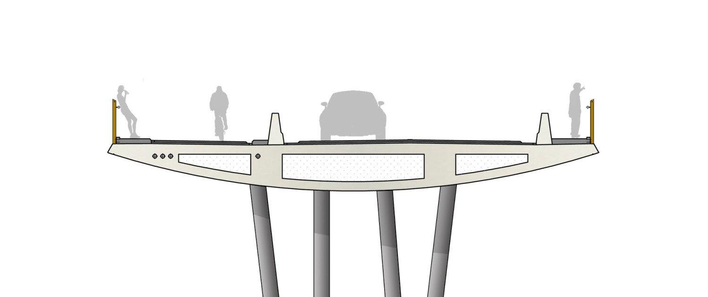 A3 tweedimensionaal 2D aanzicht van verkeersbrug,brugontwerp door ipv Delft