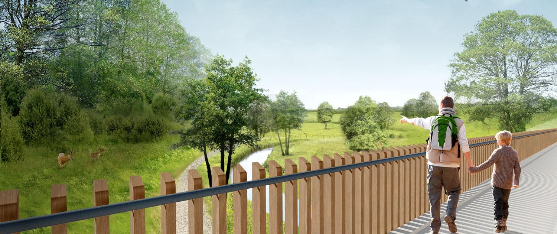 Rode Beek wisselwerking tussen de stad en het groen houten hekwerk