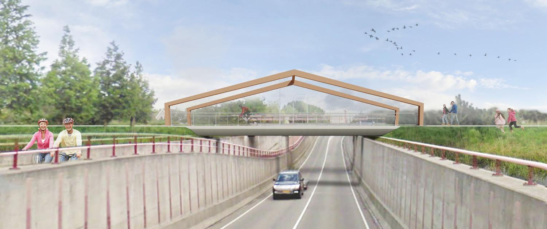 zijaanzicht robuust krachtig en transparant fietsviaduct, dakvormige zijkanten, brugontwerp door ipv Delft, Weideveld