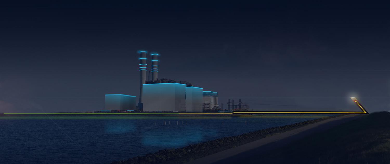 landscaping electrakabel Maximacentrale nacht verlichting hoog lichtelement, aantrekkelijke vorm en lichtovergang