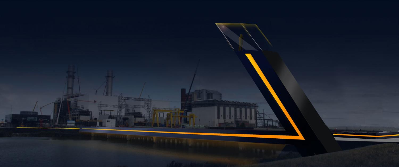 landscaping Electrakabel Maximacentrale verlichting nacht lichtelement uitkijkpunt transparant hekwerk van glazen panelen zonnecellen