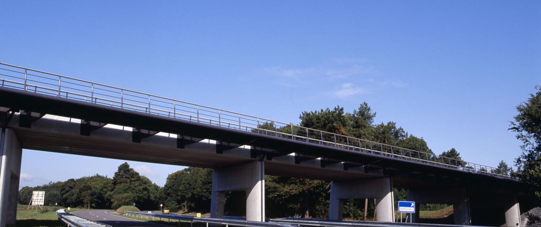 verkeersbrug Delftlanden Emmen uitkragend stalen brugdek voor fietsers en voetgangers