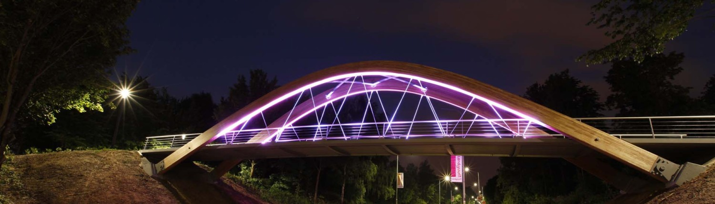 lichtontwerp design fietsbrug en voetgangersbrug Hofstraat Landgraaf verlichting nacht