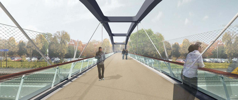 spoorovergang verbindingslint loopbrug Roosendaal MNO spoorhaven houten handregel met duurzame ledverlichting en glazen panelen