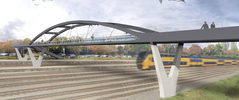 krachtige spoorovergang verbindingslint Roosendaal MNO spoorhaven houten handregel duurzame ledverlichting glazen panelen