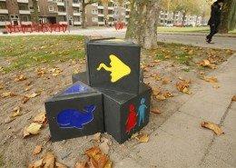 bewegwijzering Kindercampus Pendrecht kindvriendelijke route gekleurde iconen van waterdieren