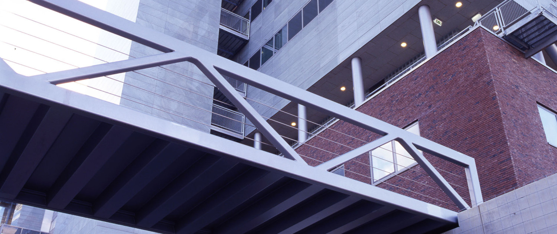 moderne strakke vakwerkbrug Maaslandziekenhuis troggendek liggers boven brugdek