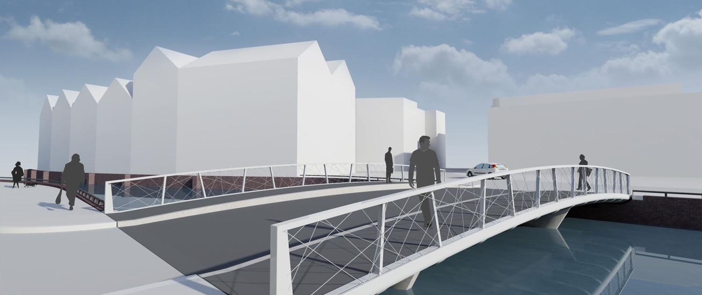 verkeersbrug Noordkade Spijkenisse standaard betonnen prefabliggers en verhoogd voetpad