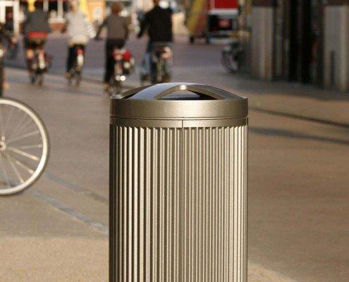 inwerpzuil Groningen gebruiksvriendelijk en vandalismebestendig ronde vorm met een geribbeld oppervlak gietaluminium delen