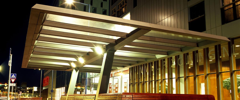 overkapping fietsenstalling Zoetermeer nacht verlichting Stadshart buitenstijl