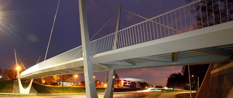 fietsbrug Rondweg Emmen slank brugdek pyloonconstructie aanlichting