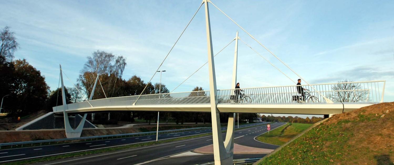 ovonde en fietsbrug Rondweg Emmen pyloonbrug met twee gevorkte pylonen