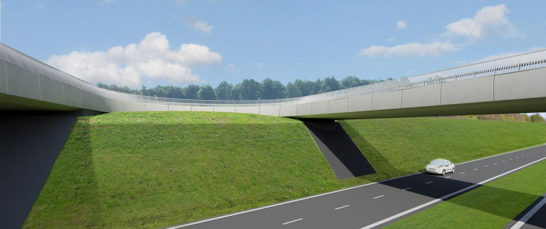 ovonde Statenweg Rondweg Emmen, 2 verkeersbruggen over weg, brugontwerp door ipv Delft