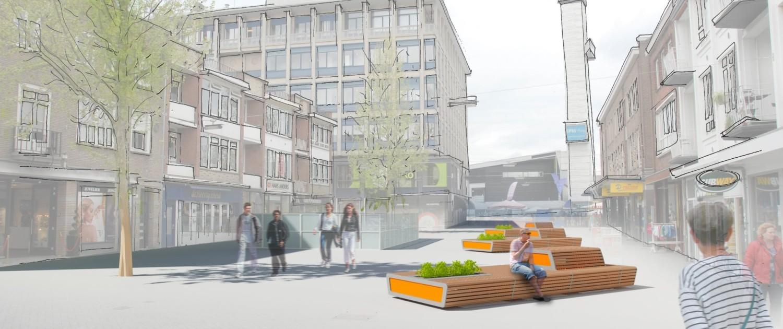 zitelementen molenplein Hengelo, XXL- banken in openbare ruimte, houten zitgedeelte, ontwerp door ipv Delft