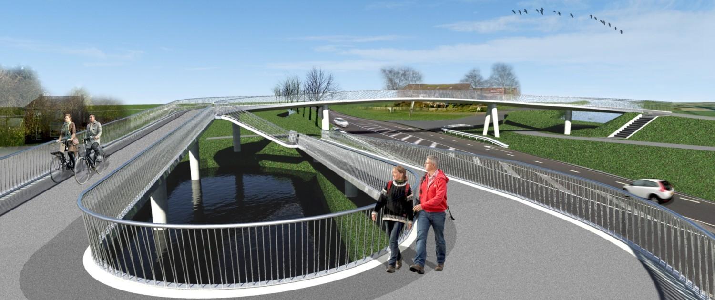 brugontwerp fiets en voetgangersbrug Heerhugowaard, brug met transparant hekwerk en betonnen steunpilaren
