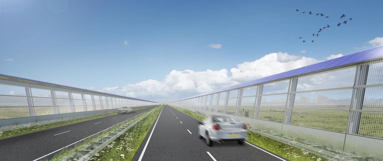 ontwerp van het energie- opwekkende geluidsscherm, duurzaam, simpel ontwerp, ontwerp door ipv Delft