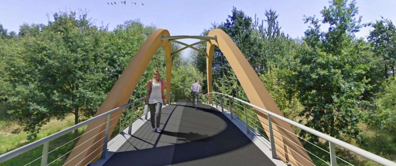 winnend ontwerp voor fiets en voetgangersbrug Landgraaf, brug met diagonale trekstangen, stalen baluster, brugontwerp door ipv Delft