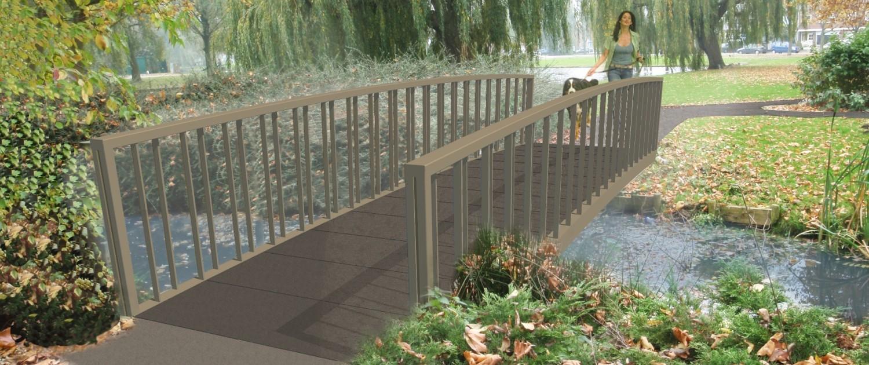 rustieke bruggen in Huijgensplantsoen Berkel en Rodenrijs met bronzen coating, randligger en hekwerk vormen een geheel, onderhoudsarme dynamische brug, brugontwerp door ipv Delft