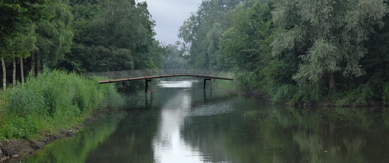 brug met houten steunpilaren en houten wegdek vanaf de zijkant, zijaanzicht brugontwerp ipv Delft