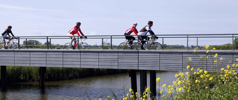 brugontwerp fiets en voetgangersbrug met metselwerkpatroon aan de zijkant, Kralingerpad Maasland, ontwerp door ipv Delft