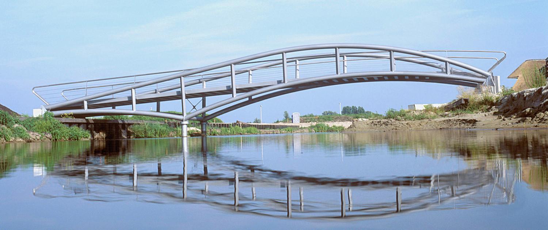 fiets- en voetgangersbruggen De Oudvaart Sneek asymmetrische constructie