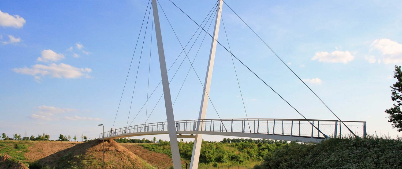 fiets- en voetgangersbrug Heidekamppark Stein, brugontwerp met asymmetrische v-vormige pyloon, houten handregel en slank stalen wegdek, ontwerp door ipv Delft