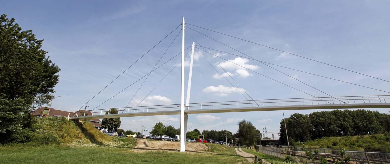 tuibrug, pyloonbrug met asymmetrische v-vorm, houten handregel en slank stalen wegdek, brugontwerp door ipv Delft, Heidekamppark Stein
