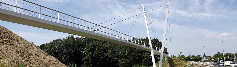 asymmetrische v-vormige pyloonbrug met slank stalen wegdek, en houten handregel, fiets en voetgangersbrug, brugontwerp door ipv Delft, Heidekamppark Stein
