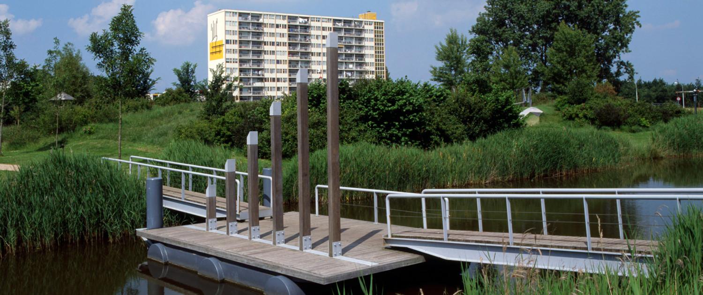 speelse toegangsbruggen speeleiland fiets- en voetgangersbruggen Ouverture Goes