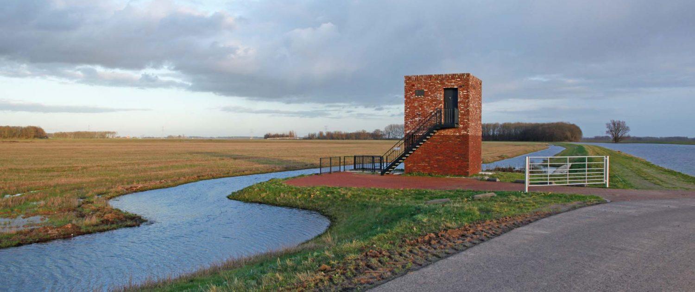 uitkijkpunt over polder, project ontpoldering Noordwaard, ontwerp door ipv Delft