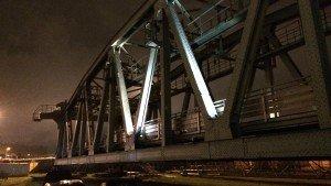 lichtproeven lichtontwerp, monumentale spoorbrug De Hef