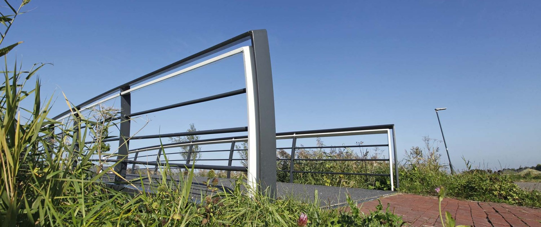hekwerk voetgangersbrug Mannee Goes, brugontwerp ipv Delft