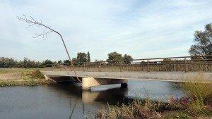ontwerp brug met vogelstokken en prefab betonnen steunpilaren Noordwaard, Ruimte voor de Rivier