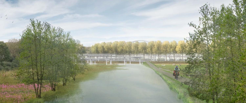 ontwerp fietbsbrug nigtevecht ipv Delft, moderne fietsbrug over het water