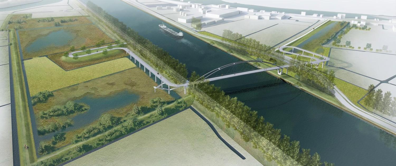 vogelvlucht fietsbrug Nigtevecht, brugontwerp door ipv Delft