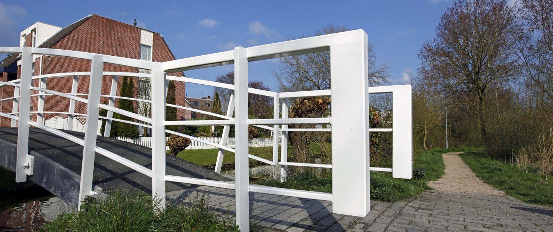 witte moderne brug, basisontwerp stalen brug, brugontwerp fiets en voetgangersbrug, ontwerp door ipv Delft