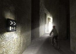 lichtinval van gang, fietsverkeer en voetverkeer, ontwerp door ipv Delft
