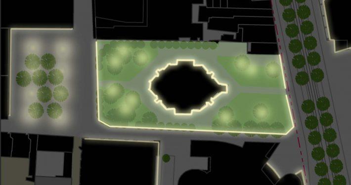 ruimtelijk raamwerk Wijnhavenkwartier, lichtontwerp bij park, Den Haag, lichtvisie, lichtontwerp door ipv Delft