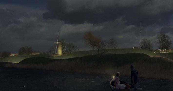 lichtvisie 's nachts Hellevoetsluis, lichtontwerp door ipv Delft, zicht vanaf het water