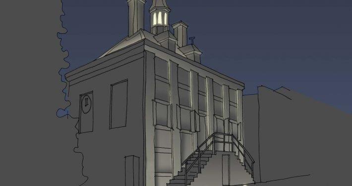 objectverlichting, berekening en tekening lichtontwerp, ontwerp door ipv Delft