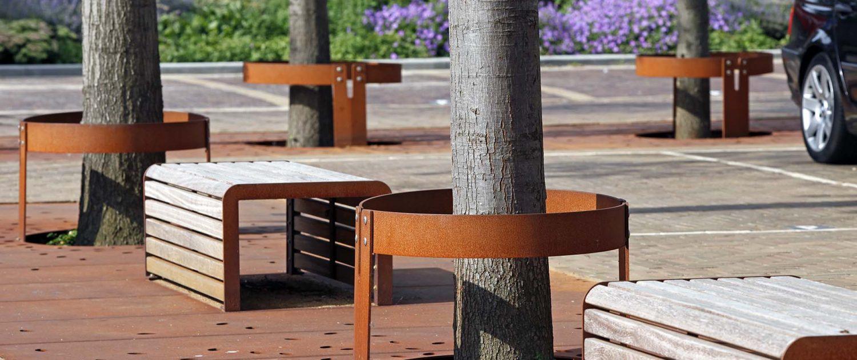 cortenstaal boomroosters , ontwerp door ipv Delft, inrichting van openbare ruimte