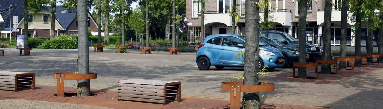 boomroosters Hazerswoude met bijpassende banken, exterieur ontwerp door ipv Delft